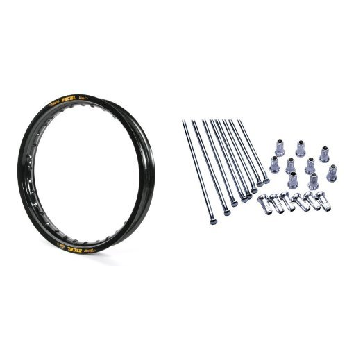 """Excel FEK422 Black 18"""" x 2.15"""" 36 Hole Takasago Rim and Excel XS8-51187 18"""" Replacement Spoke and Nipple Kit Bundle"""