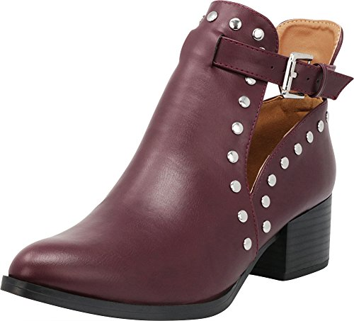 Cambridge Select Women's Closed Pointed Toe Side Cutout Dome Studded Buckle Strap Chunky Stacked Block Heel Ankle Bootie,7.5 B(M) US,Burgundy PU