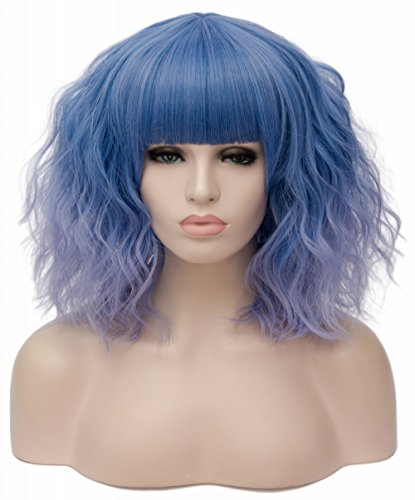 (TopWigy Women Blue Wig with Bangs Synthetic Heat Resistant Hair Mid Length Curly Wavy Bob Wig Colored Wigs Cosplay Party Fun)