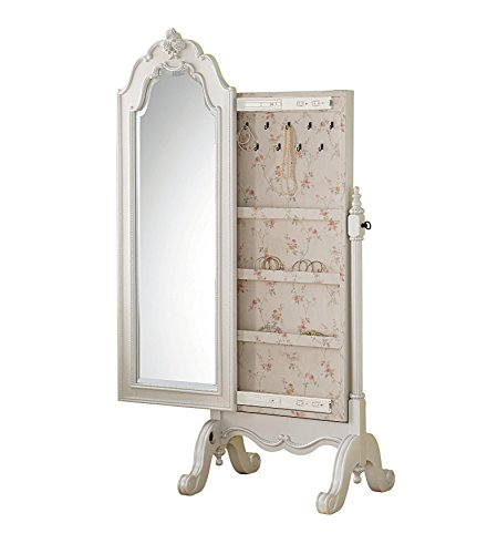 Acme Furniture Edalene 30520 Cheval Jewelry Armoire, Pearl White