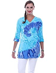 Parsley & Sage Womens Kami Turquoise Tie Dye Tunic Top