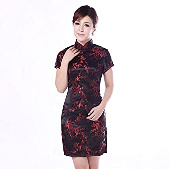 1f5d5bdee UK Seller Black & Burgundy Cherry Blossom Chinese Short Mini Evening Party  Dress Cheongsam Qipao (. Oriental Clothing