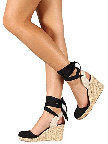 New Black High Heel Slingback - Syktkmx Womens Lace up Slingback Espadrille Platform Wedges Closed Toe Color Block Ankle Wrap Sandals