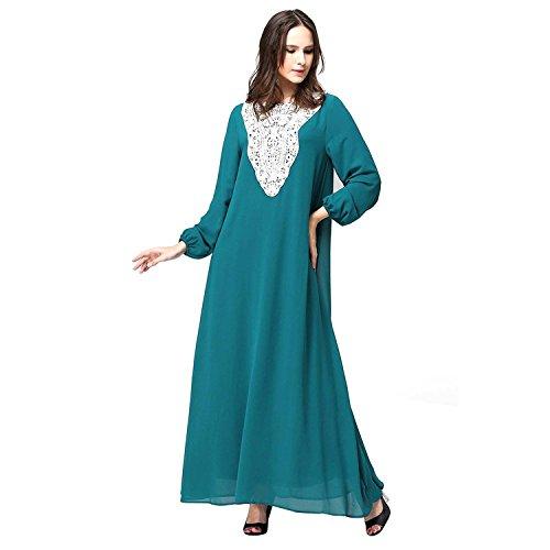 Blu Abito Chiffon Musulmano Pizzo Abaya Islamico Donne Jibab Di Lora Delle Caftano Aro Lungo v8F7OF