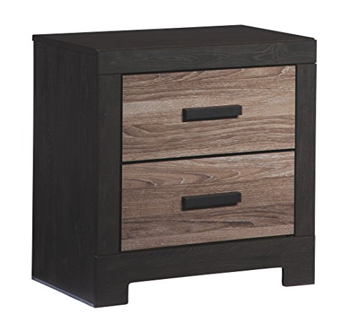 Ashley Furniture Signature Design - Harlinton 2 Drawer Night Stand - Contemporary Vintage Bedside Table - Warm Gray & Charcoal Oak Traditional Bed Set