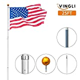 VINGLI Upgraded 25ft Aluminum Telescopic Flagpole, Heavy Duty Outdoor Halyard Flag Pole, Durable Kit Free with USA American Flag Frame, for Residential or Commercial