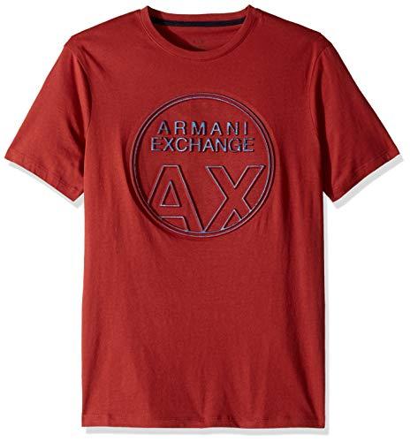 A|X Armani Exchange Men's Short Sleeve Crew Neck Large Graphic Logo T-Shirt, Rosewood, L