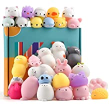 KUUQA 30Pcs Animal Squishies Toys Easter Egg Fillers Kawaii Squishy Panda Cat Paw Cute Mini Soft Squeeze Stress Reliever Balls Toys for Kids Adult Birthday Party Favors Bags