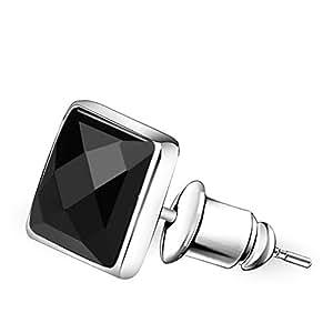 S925Pendientes negros del Onyx plata/ clavo de hongo blanco de los hombres/ moda pendientes-A