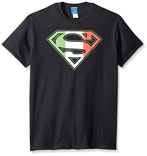 DC Comics Men's Superman Short Sleeve T-Shirt, Italian Black, - Italian T-shirts 100%