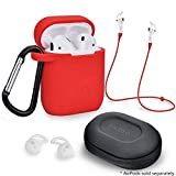 Airpods Accessories Set, Filoto Airpods Waterproof Silicone Case Cover with Keychain/Strap/Earhooks/Accessories Storage Travel Box for Apple Airpod (Red)
