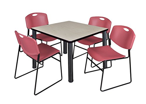 """Kee 42"""" Square Breakroom Table- Maple/ Black & 4 Zeng Stack Chairs- Burgundy"""