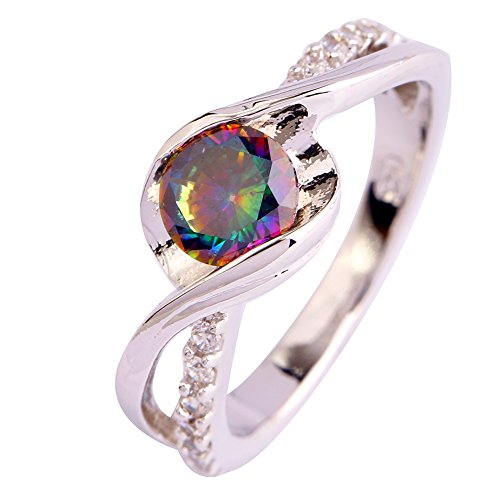 (Emsione Created Rainbow Topaz 925 Silver Plated Openwork Band Ring for Women)
