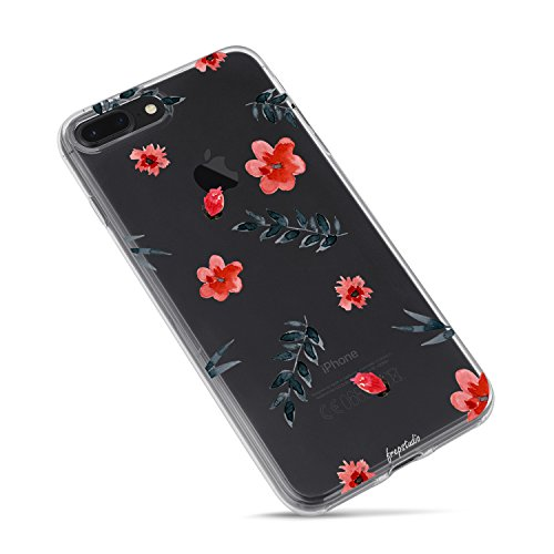 Flower Blue Rose (iPhone 7 Plus/iPhone 8 Plus Floral Cute Case for Girls,Peach Rose Floral Flowers Blue Leaves Clear Case for Girl-Watercolour Floral Flower Garden Clear Case for iPhone 8 Plus(5.5 Inch))