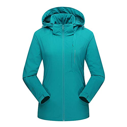 FEDULK Women's Outdoor Sport Jacket Ski Waterproof Breathable Plus Size Puffer Coat Short Parka(Sky Blue,US Size XL = Tag 2XL) ()