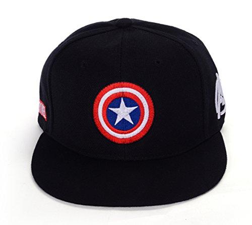 REINDEAR Marvel Avengers Captain America Shield Hat Baseball Cap US Seller (Black) -
