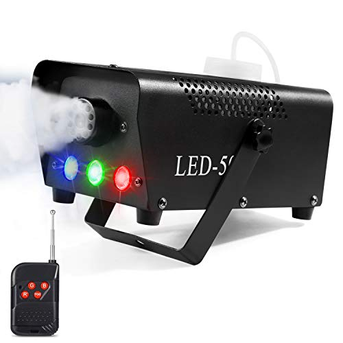 Fog Machine, AGPTEK 500W Portable Led Smoke Machine with Lights (Red, Blue, Green) & Wireless Remote Control for Halloween, Christmas, Wedding, Parties, DJ Performance & Stage Show -