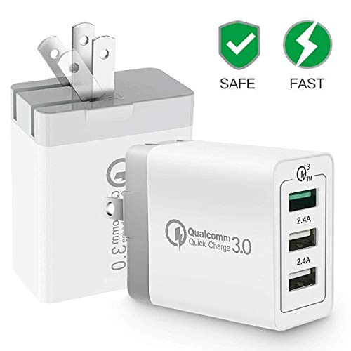 [ QC 3.0 + 2 USB ] Quick Wall Charger Fast Adapter, 30W 3 Port Tablet iPad Phone Quick Charge 3.0 Travel Adapter SmartPorts+Foldable Plug Compatible SamsungS9/S8/ Note8 iPhoneX/8 iPad LG Nexus HTC