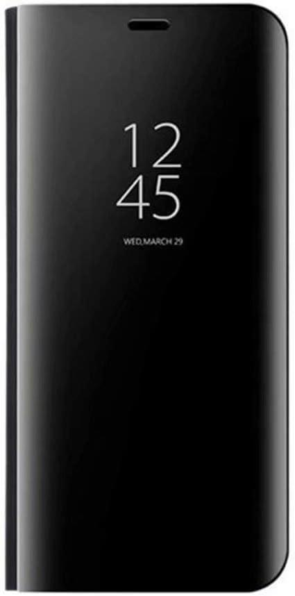 GOGME Funda para Samsung Galaxy S21 Ultra 5G, Mirror Funda Inteligente, PU/PC Flip Cover Case Espejo Enchapado Window View Protectora Carcasa con Soporte Plegable. Negro