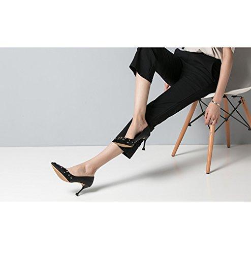 Feminine Elegant Spitz-Zeh High Heel Schuhe Mode Niet Shallow Mund Sandalen Schwarz Hochzeit Schuhe Sexy Feet...