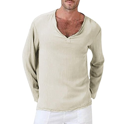 (iLXHD Mens Summer T-Shirt Cotton Linen Shirt V-Neck Beach Yoga Top Blouse(Khaki,XL))