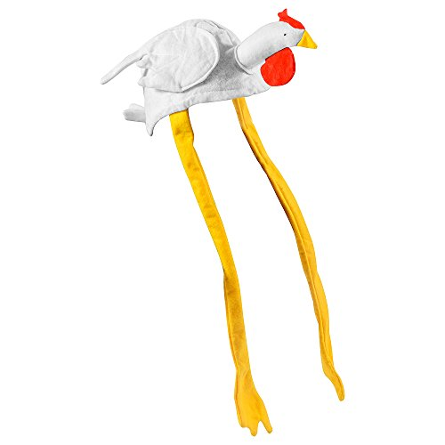 [Chicken Hat - White Cute Rooster Hat With Long Yellow Ties Costume Accessory] (Oktoberfest Costumes Hat)