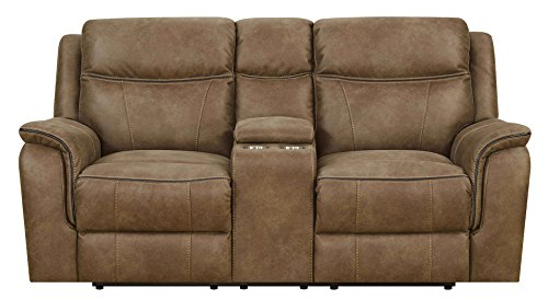 MorriSofa MNY2242-50-0030-27230 Cameron Lay Flat Reclining Loveseat with Storage Console, 75.25
