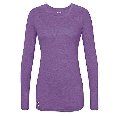 Sivvan Women's Comfort Long Sleeve T-Shirt / Underscrub Tee - S8500 - Heather Purple - M (T-shirt Womans Sleeve Tee Long)