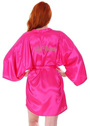(AshopZ Women's Personalized Embroidered Short Silk Satin Bathrobe Kimono Rose)