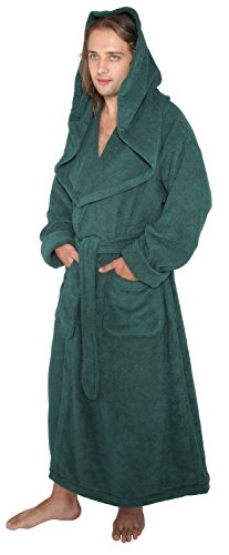 Style Full Length Long Hooded Turkish Terry Cloth Bathrobe, Large, Hunter Green ()