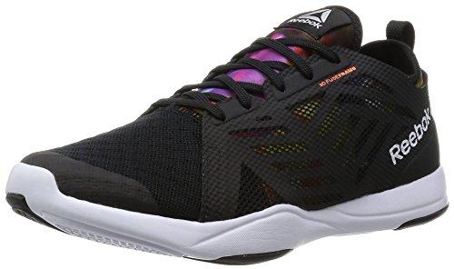 Reebok Ladies Cardio Ispirano Sneakers Basse 2.0, Colorate Nero / Bianco / Arancio (nero / Bianco / Pesca Elettrica / Grafica)
