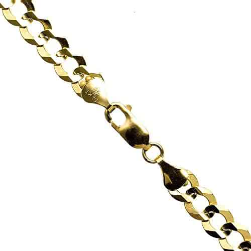 14K YELLOW Gold SOLID ITALY CUBAN Chain - 20 Inches Long 7MM Wide