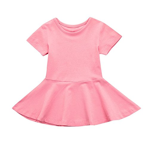(Hatoys Candy Color Sundress,Toddler Kids Baby Girl Short Sleeve Solid Princess Tutu Casual Dress (24M, Pink))