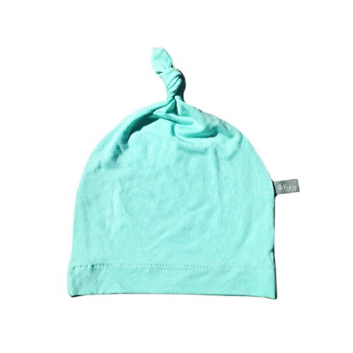KYTE BABY Organic Bamboo Rayon Baby Beanie Hats - Super Soft Knotted Caps Available in Pattern and Solid Colors (6-12 Months, Aqua)