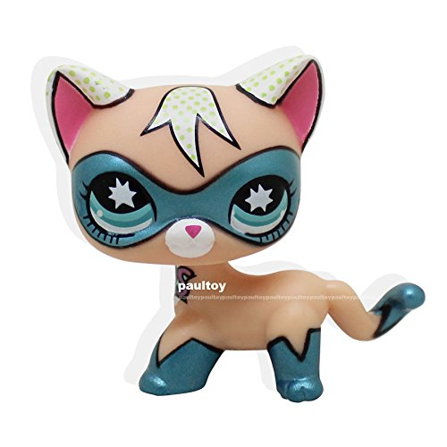 Superhero Kitty (good luck store LPS Super Rare Littlest Pet Shop COMIC CON CAT Super Hero kitten kitty Blue Eyes Toy LPS +GIFT BOX)