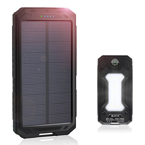 Solar Charger 12000mAh Portable Battery Charger Power Bank for iPhone, iPad, Samsung, Smartphones