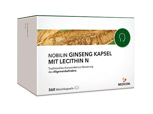 NOBILIN GINSENG MIT LECITHIN N - 360 Kapseln hochdosiert mit Ginsengwurzel-Pulver Extrakt, Stärkungsmittel, Vitamin-E