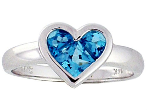 Genuine Blue Topaz Invisible Set Heart Ring 14kt Size 7