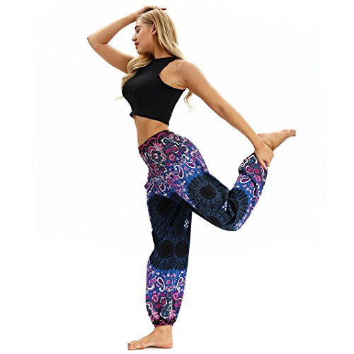 iYBUIA Men Women Casual Printed Loose Hippy Yoga Trousers Baggy Boho Aladdin Harem Pants(Purple,Free Size)