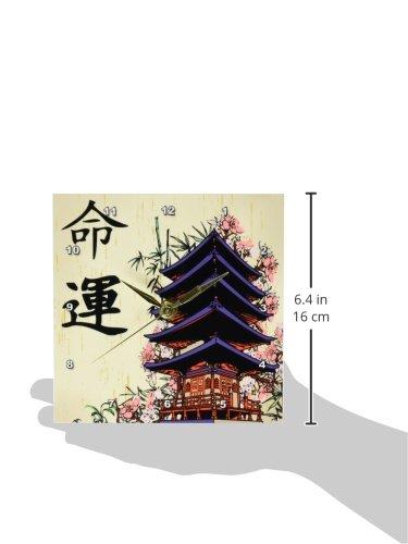 3dRose dc/_116193/_1 Beautiful Japanese Pagoda with Pink Sakura /& Bamboo Destiny Luck Kanji Symbols Asian Design Desk Clock 6 by 6