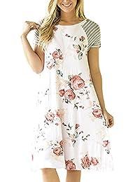 Assivia Womens Floral Print Casual T-Shirt Dress Short Sleeve Loose Midi Dresses