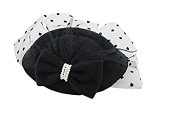 1950s Women's Hat Styles & History Womens Fascinators Hat Pillbox Hat Cocktail Party Hat with Dot Veil Bowknot Hair Clip $8.89 AT vintagedancer.com