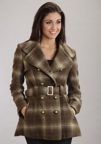(Wool Blend Trench Coat With Faux Leather Stetson Ladies Collection- Outerwear (xs) 11-098-0597-0761BR)
