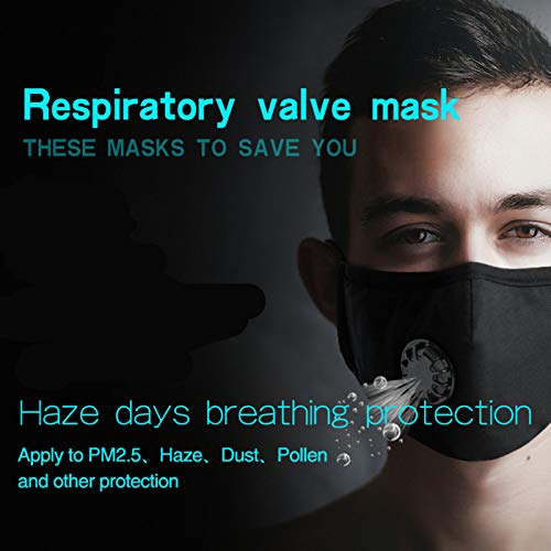 2 Pack PM 2.5 Air Pollution Masks with 4 Air Filter Cotton Sheet Washable Reusable N95 Anti Dust Smoke Face...