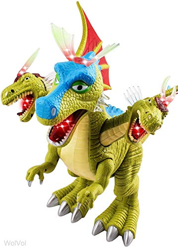 WolVol 3-Head Dino Family Dragon Dinosaur Toy Figure with Many Lights & Loud Roar Sounds, Real Movement of Head Hands Feet (Battery Powered)