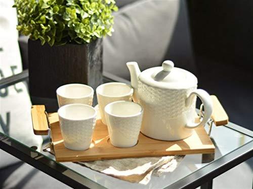 - 7 Piece Classic White Ribbed Ceramic Tea Set, Vintage Serving Tray, Teapot & 4 Teacups - Gift Set Product Dimensions: 35x18x13.5cm