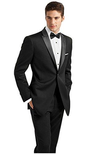 Ike Behar Black Slim Fit Tuxedo with Peak Lapel free shipping