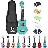 Soprano Ukulele Beginner Pack, 21 Inch Basswood kids Ukuleles Starter Kit with Gig Bag Digital Tuner Spare Strings and Picks. (green)