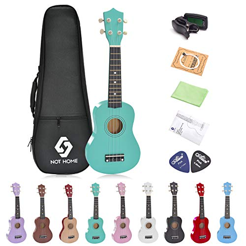 Soprano Ukulele Beginner Pack, 21 Inch Basswood kids Ukuleles Starter Kit with Gig Bag Digital Tuner Spare Strings and Picks. (green)