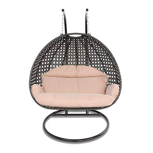 (Island Gale Luxury 2 Person Wicker Swing Chair ((2 Person) X-Large-Plus, Charcoal Rattan/Latte Cushion))